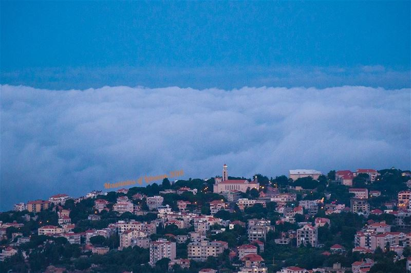 The town of Ajaltoun, keserwan at dawn, sea of clouds at bay ajaltoun ... (Ajaltoun, Mont-Liban, Lebanon)
