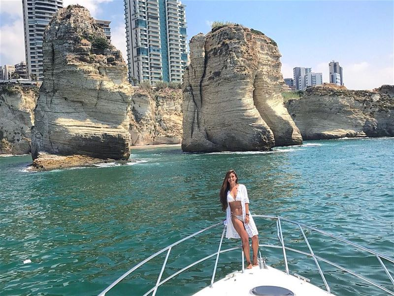 Lets go for a ride where I'll take you back to Pigeon Rocks 🛥💙 Un... (Pigeon Rock Beirut.)