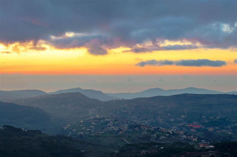 sunset mountains landscape nature twilight lebanon_hdr instagood... (Al Shouf Cedar Nature Reserve)