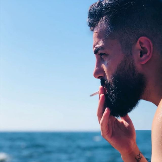 Smoking kills 😛• smoking cigarette marlboro sea beard beards ... (Beirut, Lebanon)