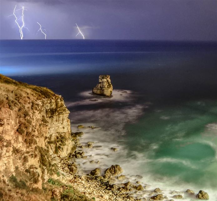 One stormy summer night at the beach lebanon amchit beach lightning ... (Amchitt, Mont-Liban, Lebanon)