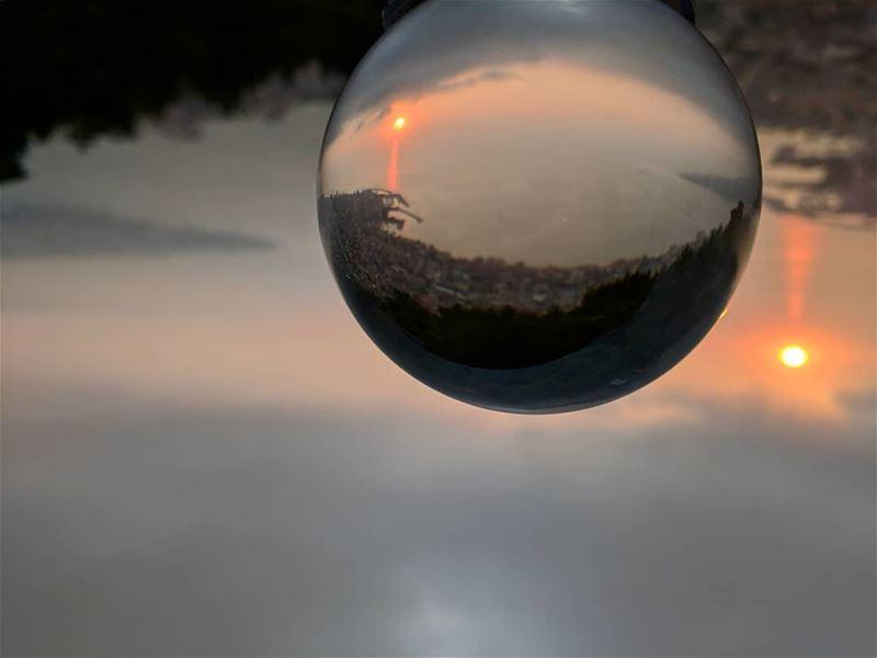 Glassball sunset view of Jounieh Bay 🌐🌀🌅 livelovejounieh jouniehbay ... (Jounieh keserwan جونية كسروان)