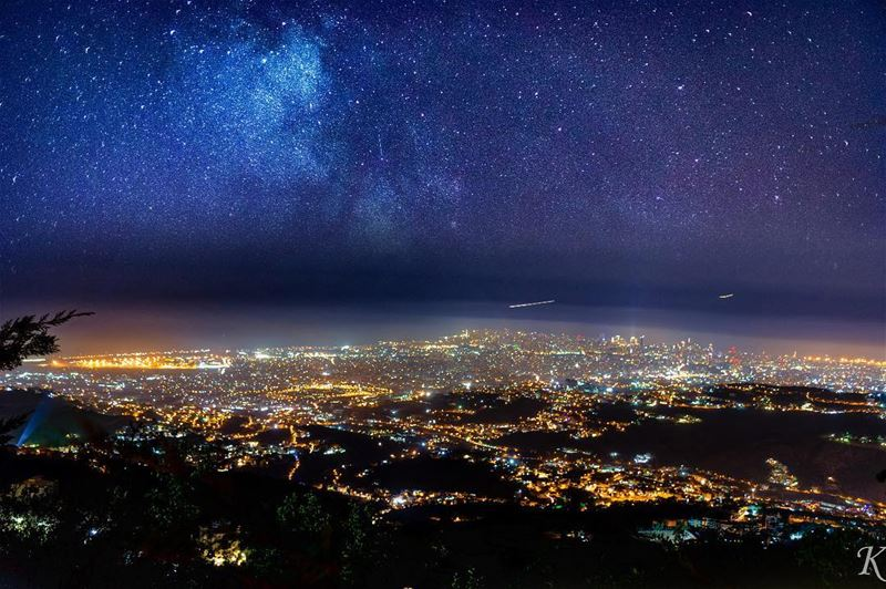 Night sky above beirut city.. lebanoninapicture lbip lbip2018...