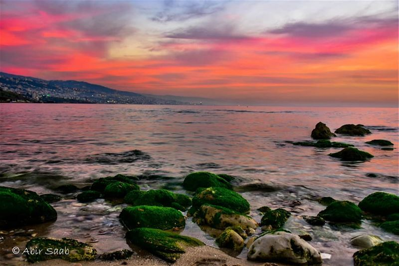 This kind of magical sunsets.. lebanon jbeil beach sunset ... (Byblos, Lebanon)