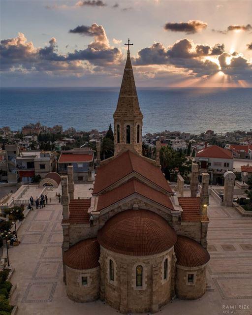 Blessed sunset 💒🌅... lebanon batroun north dji drones ... (Kfar Abida)