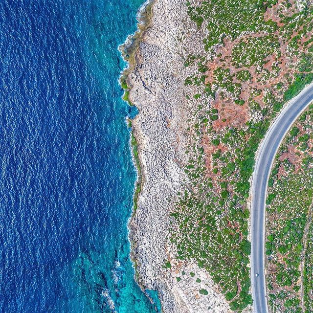 Can you spot the 🚐?••• lebanon sea blue road drone ... (Anfeh Al-Koura أنفه الكورة)