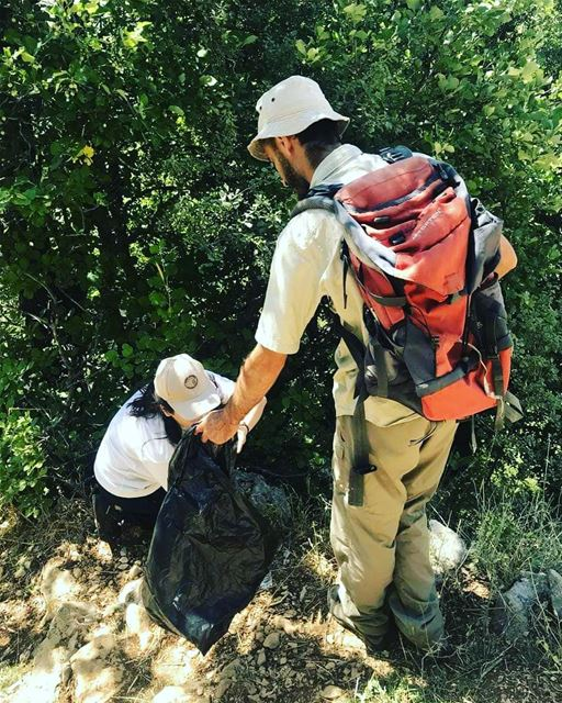 Keep nature clean!Our guides are in action: cleaning the hiking trails... (Jabal Moussa Biosphere Reserve)