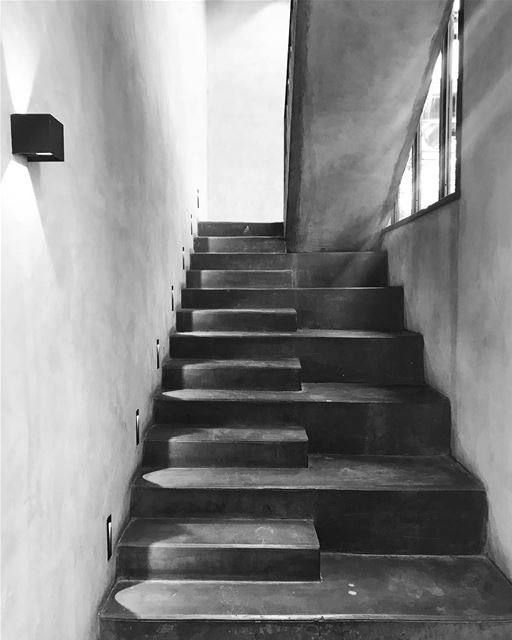 stairs lights shades architecture black white grey up sudrestobar lebanon... (Naccache)
