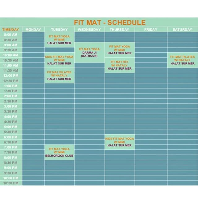 This week's schedule:—Tuesday:Yoga @ 8:00A.M. - Halat Sur MerKids Yoga... (Surf Shack Lebanon)