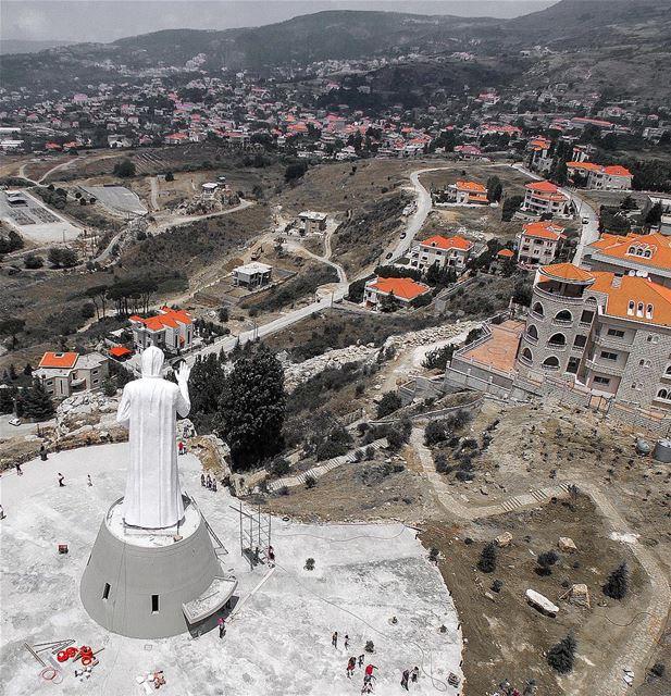 Saint Charbel's statue overlooking Hammana village.📍Hammana, Lebanon |... (Hammana)