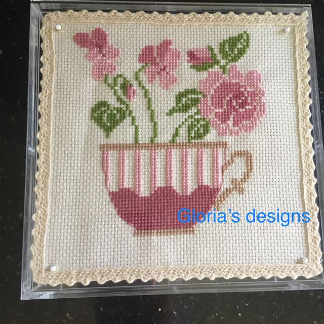 crossstitch  handmade  tea  teabox  cup  flowers  lebanon  north  for...