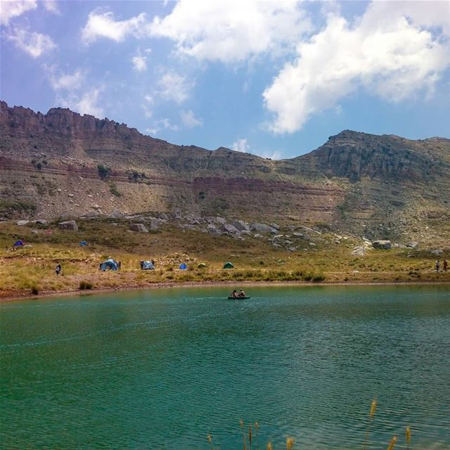 Serenity🚣 clouds  mountains  lake  peaceful  Aqoura  adventure ... (Akoura, Mont-Liban, Lebanon)