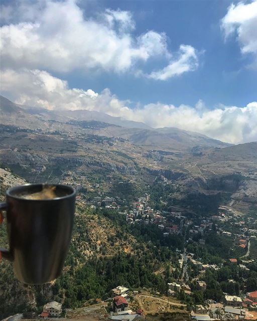 Coffee is the best Monday coffee break mode lebanon view mountain... (Afeer)