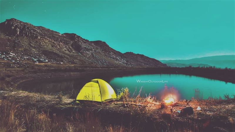 Camping is my therapy mountains camping campfire nature ... (Akoura, Mont-Liban, Lebanon)