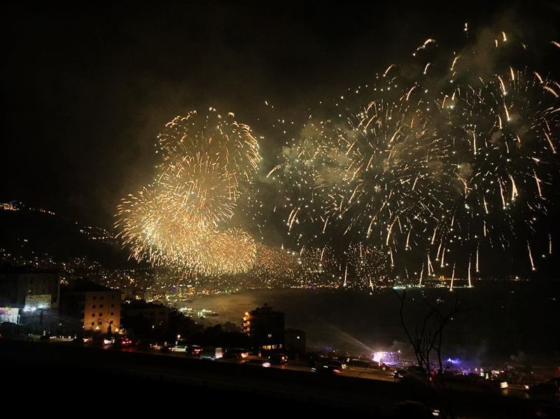 fireworks lights light colors colorful night festivities sea ... (Adma, Mont-Liban, Lebanon)