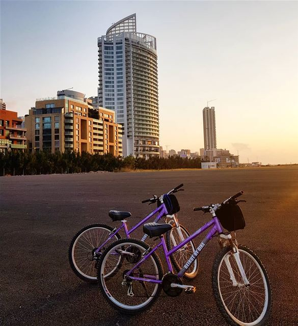 Bff twinning😍🇱🇧👭 biking sports fitness sunset colorful bffgoals ... (Beirut, Lebanon)