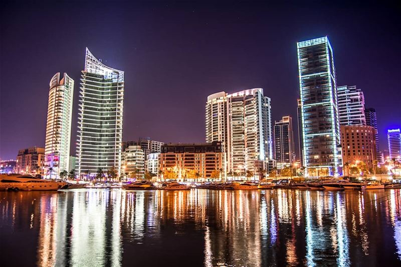 Beirut Skyline at night | Zaytuna Bay. city night lebanon cityscape ... (Beirut, Lebanon)
