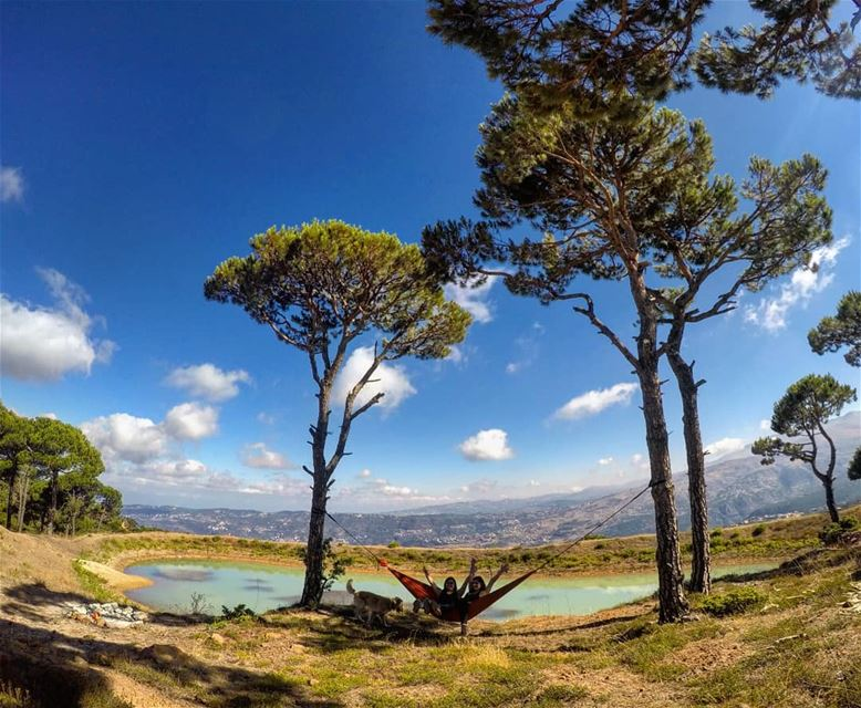 Nature is where we belong... dayinthemountains hammock outdoorlife ... (Falougha, Mont-Liban, Lebanon)