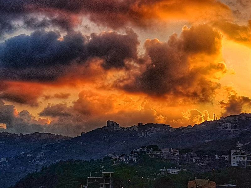 Fire in the sky over Brummana  brummana  sunset  sunset_lovers  sunsetsky ... (Brummana)