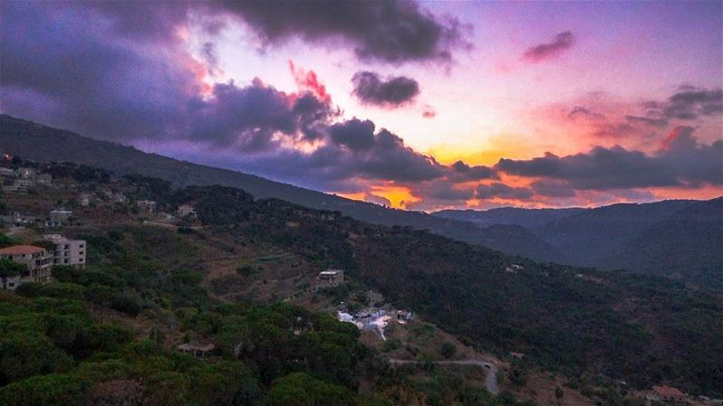 Sunset + drone ..Shot with parrot bebop 2 power. lebanoninapicture... (Arsoûn, Mont-Liban, Lebanon)