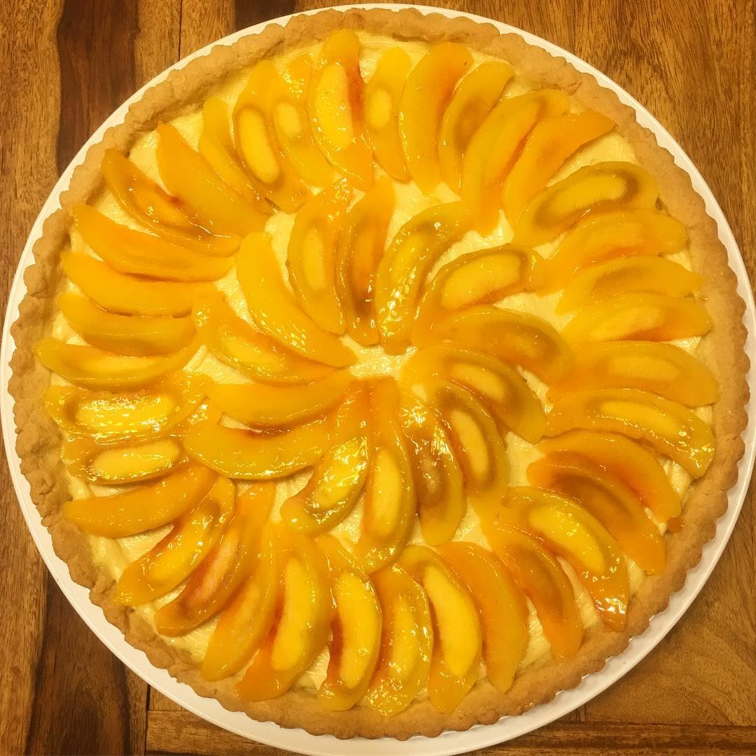Today Was... Peachy 🍑. peach summer tart pie dessert baking baker... (Beirut, Lebanon)
