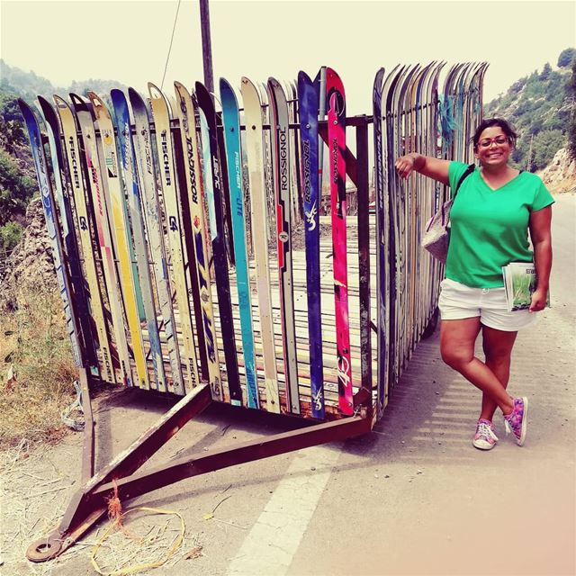 The power of upcycling. What to do with your old skis ? tourleb ... (Ehmej, Mont-Liban, Lebanon)