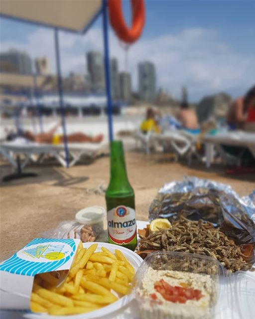 Simple pleasures come in bizri, moutabal, batata and a cold Almaza ........ (Beirut, Lebanon)