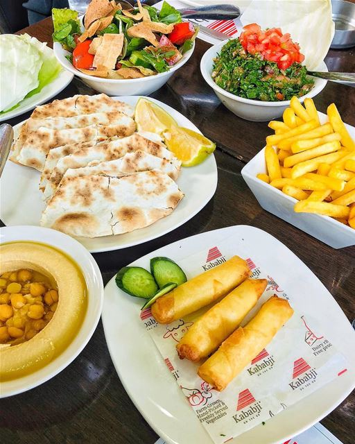 A small Lebanese feast 🇱🇧—————————— popcorn961kababji kababji ... (Kababji)