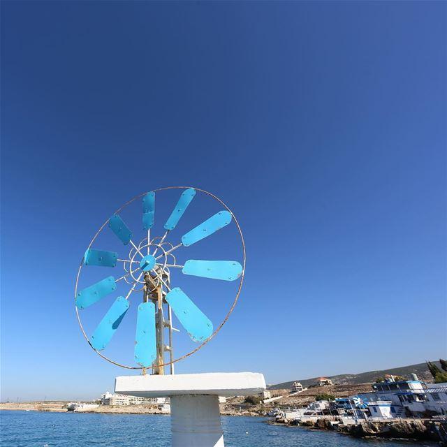 windmill anfeh lebanon blue sky sea Beautiful ... (Anfeh Al-Koura أنفه الكورة)