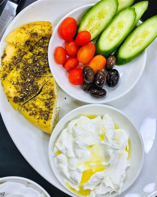 A great way to start the day Lebanese style: labneh with zaatar bread,... (Abc Achrafieh)