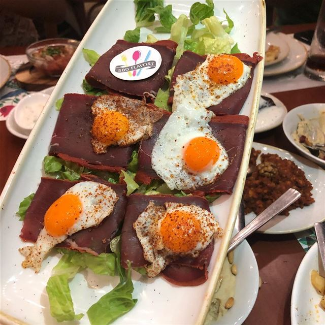 Bastarma and ferreh egg 🍳 a tasty item at @onno.bistro naccache @zero4leb (Onno Naccache)