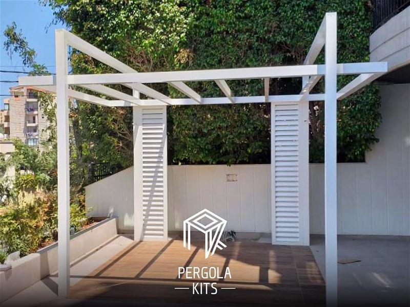 Geometrical Shapes of Aluminum Pergola Kits with Side Louvers. ... (Mansourieh El Matn المنصورية - المتن)