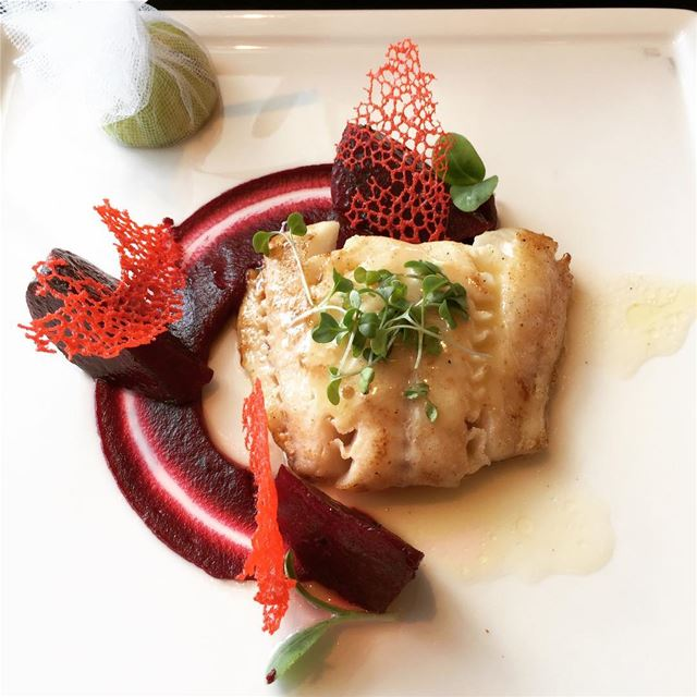The mouth-watering Cod with Beetroots at @fsbeirut 👌🏻 travel ... (Four Seasons Hotel Beirut)