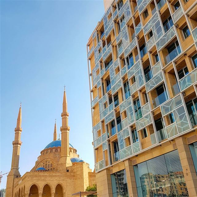 Blue Beirut.. beirut  architecture  martyrssquare  mosque  hotel  wine ... (Martyrs' Square, Beirut)