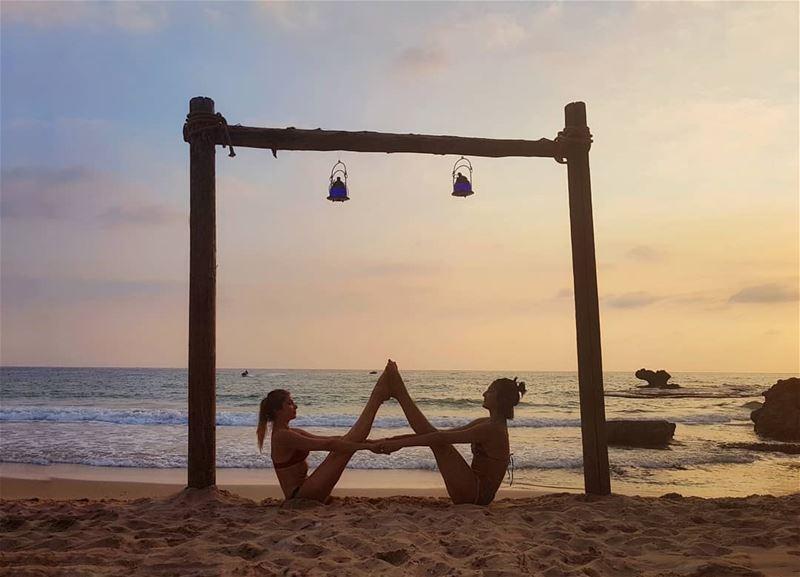 •Doubles• 🤸♀️... beachyoga summer vibes happyvibes acroyoga ... (Byblos, Lebanon)