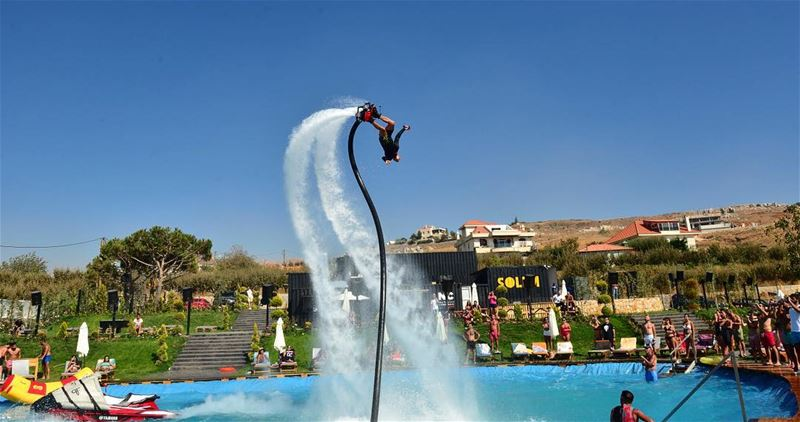 This is how we do it  flyboardlebanon Pool Show @solemzaarour. Speacial... (SOLEM Zaarour)
