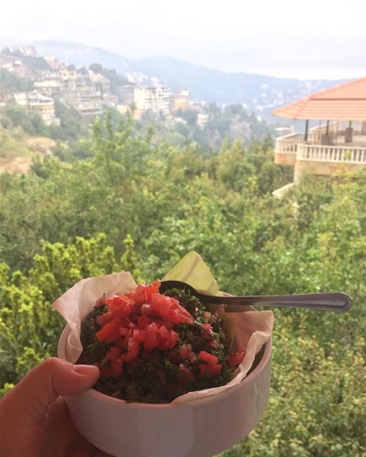 Tabouleh anyone !! 🥗🥗🥗🥗🥗🥗🥗🥗 lebanese lunch time amazing view ...