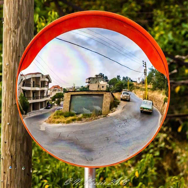 mirror  reflection  street  cars  ngconassignment  Lebanon ... (Baskinta, Lebanon)