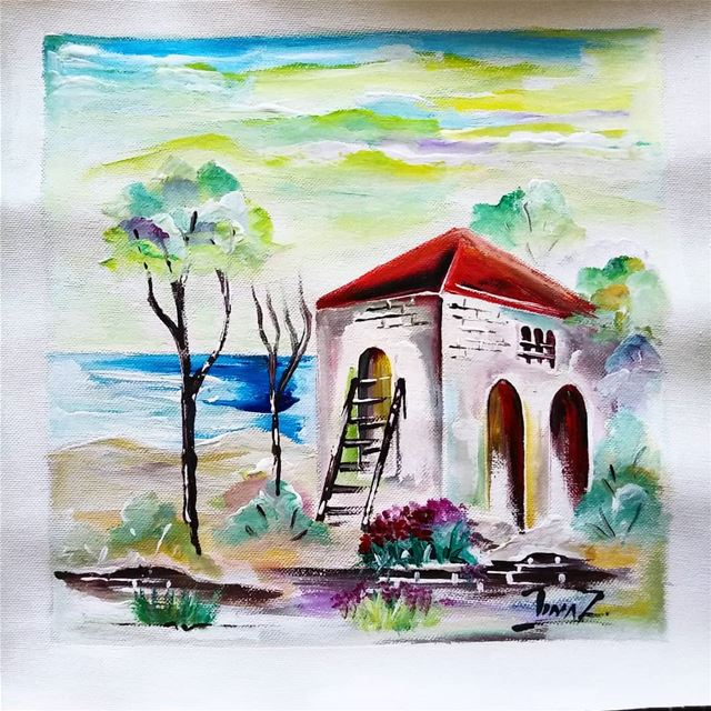 Lebanese home 25x25 acrylic on canvas nature ocean oldhouse ...