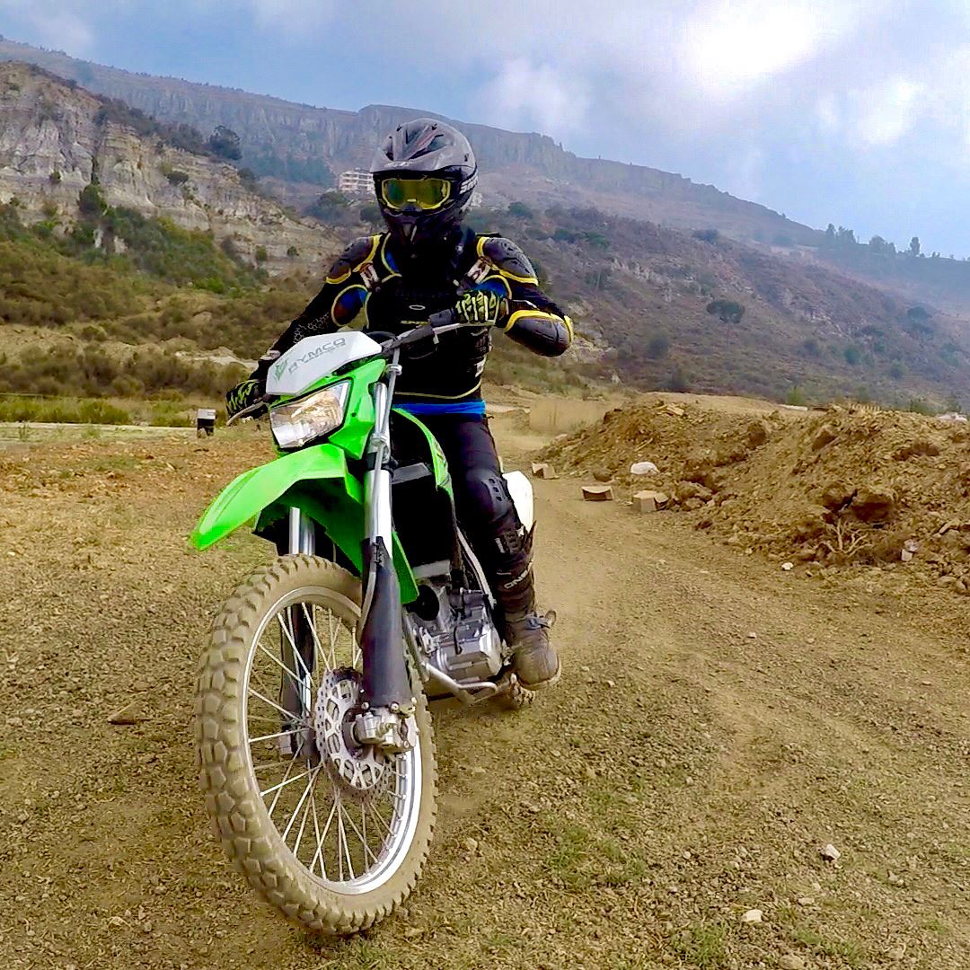 Always wear full protection on a bike with a full face helmet and goggles!... (Hammana)