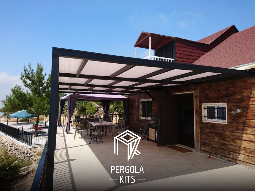 Modern Steel Pergola With Polycarbonate Roofing Is Just What This Aley