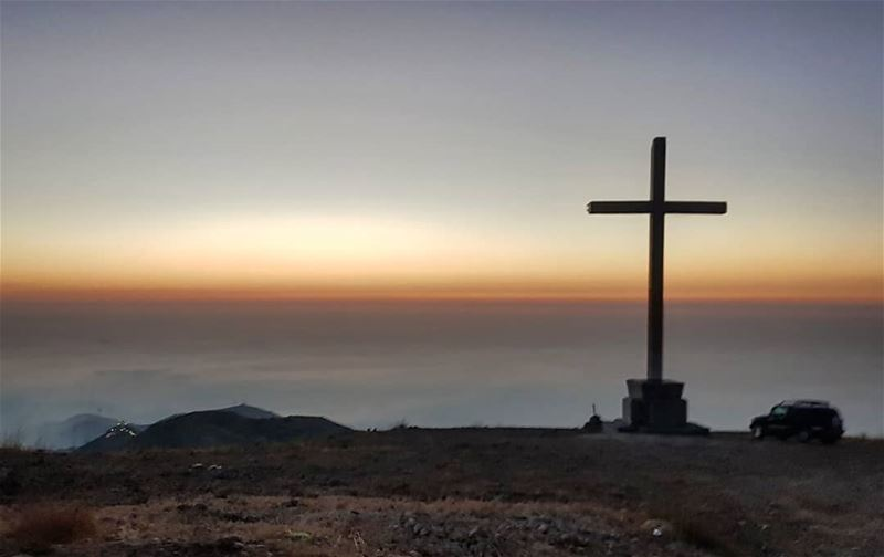 """While the world changes, the cross stands firm"".  sunset  mountains ... (Ehden, Lebanon)"