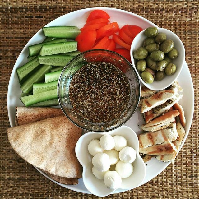 Labne Zaatar Zeitoun Banadoura Khiar - The Perfect Lebanese Breakfast
