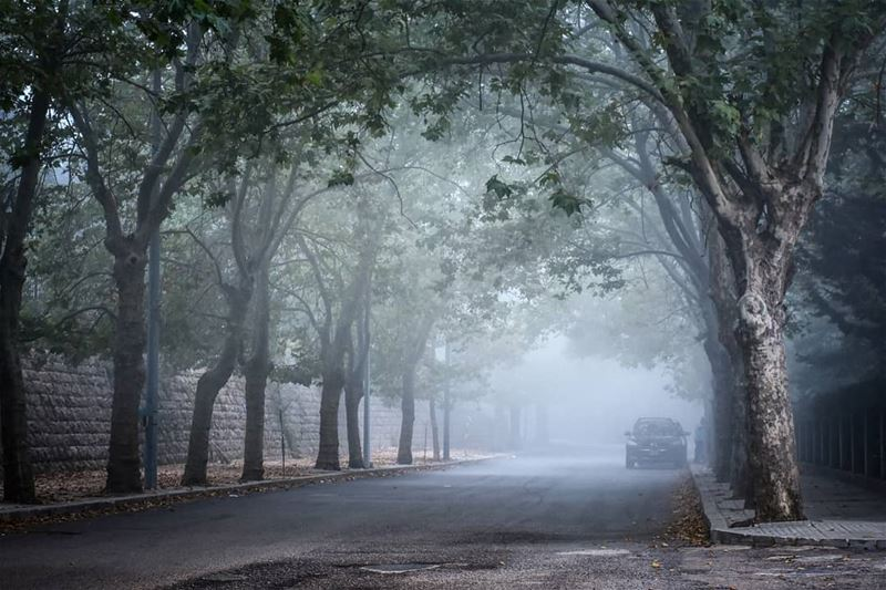 First days of Fall - Cold Foggy evening at Sawfar Cornish 5-9-2018 | Sorry... (Sawfar, Mont-Liban, Lebanon)