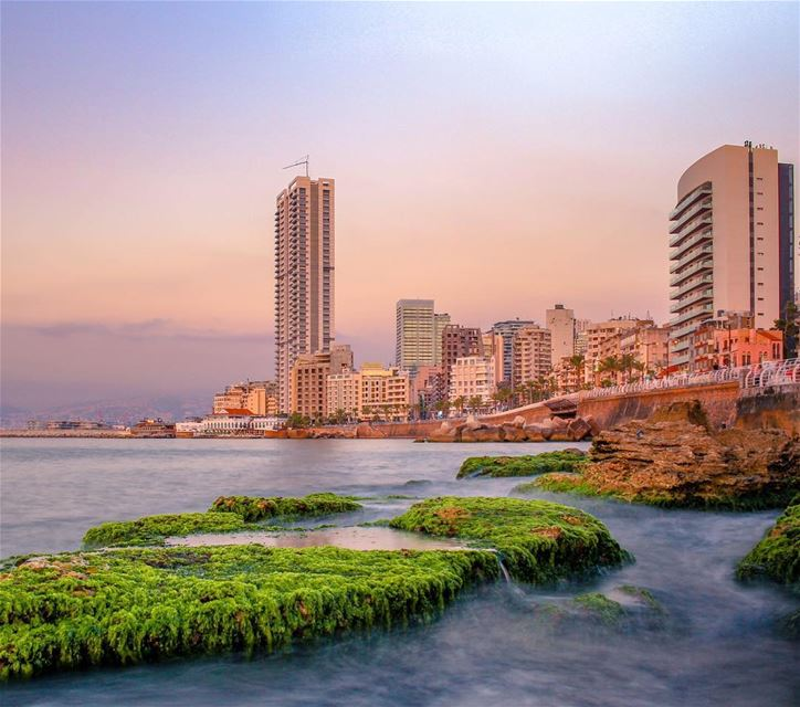 Beirut sea longexposure photography sunset nature landscape beautiful... (Beirut, Lebanon)