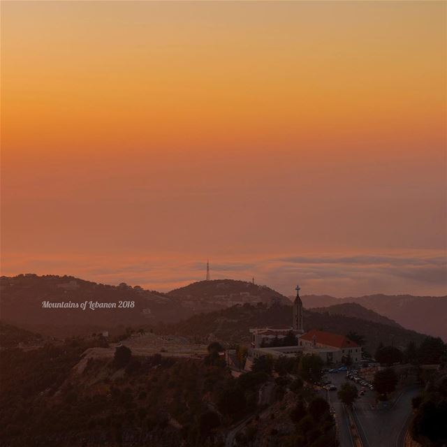 Sunset above the sea of Clouds Modern National Pilgrimage at  marcharbel ... (Annaya)