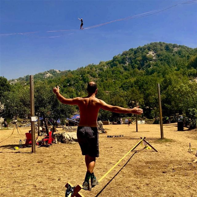 Same but different... totally different!.... slackline  highline ... (Chahtoûl, Mont-Liban, Lebanon)