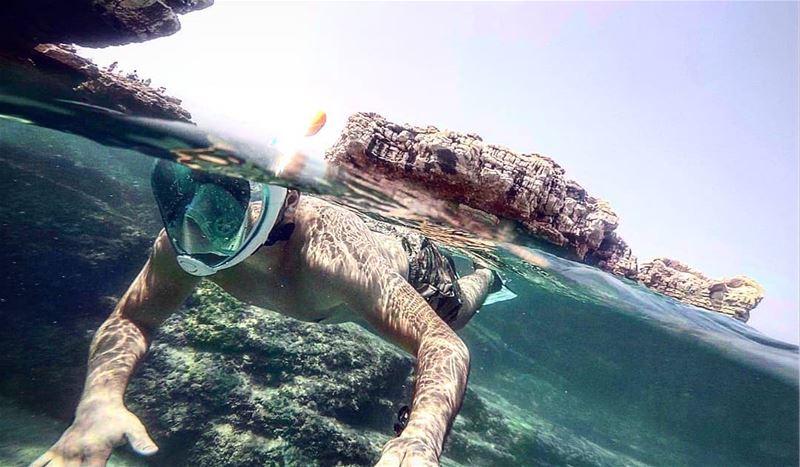 I'm happier when floating in the sea 🏊♂️ snorkeling snorkelmask diving... (Batroûn)