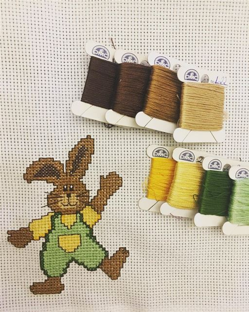 hello  friday  rabbit  🐰  homedecor  personalised  crossstitch  dmc ...