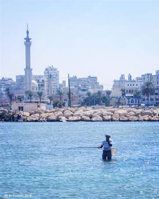 tb tripoli fisherman sea northlebanon boat sea mosque sky water... (Tripoli, Lebanon)